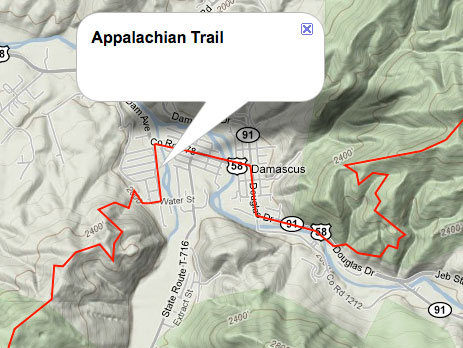 Terrain map showing Appalachian Trail running through Damascus.