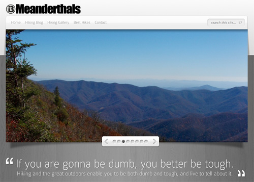 Screen shot from the Meanderthals hiking blog, based in the mountains of western North Carolina