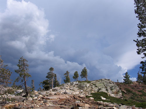 Dark clouds over a ridge in the Sierra Nevada in California