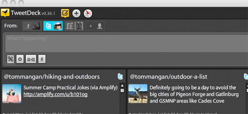 TweetDeck screen grab for Two Heel Drive, A Hiking blog