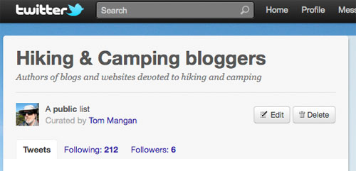 Tom Mangan's twitter list of hiking and camping bloggers