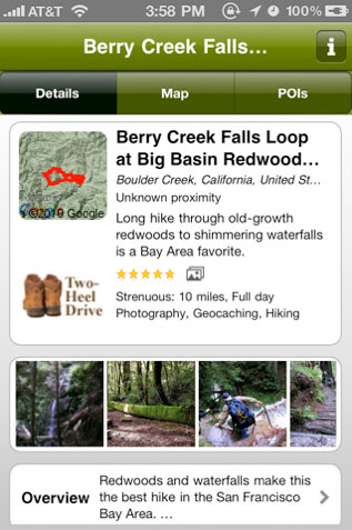 EveryTrail screen grab for Berry Creek Falls at Big Basin State Park