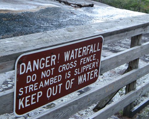Waterfall danger sign