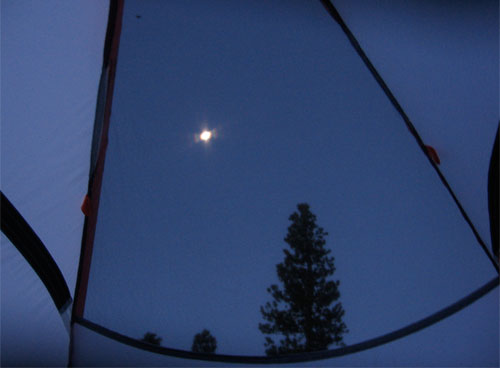 Moon from inside a tent
