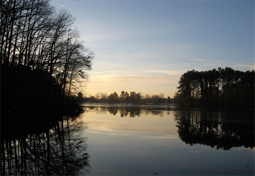 A lake in winter, High Point North Carolina