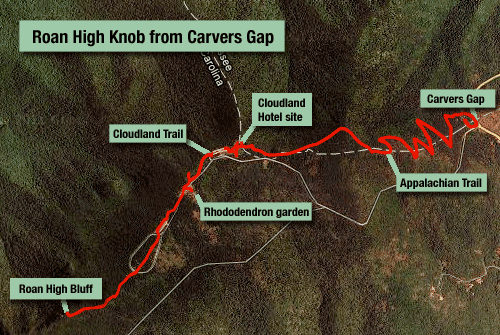 Roan High Knob from Carvers Gap, taking in Appalachian Trail and Cloudland Trail