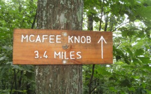 Trail sign for McAfee Knob on the Appalachian Trail