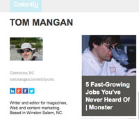 Tom Mangan's contently profile page