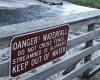 Waterfall danger sign